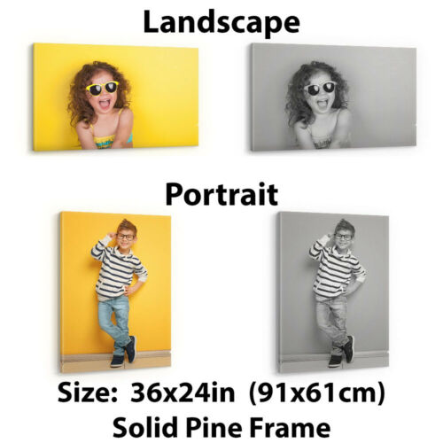 CANVAS PRINT YOUR PHOTO PERSONALISED FRAMED HUGE A0 A1 A2 A3 CUSTOM IMAGE PRINTS