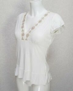56459cbc00582f Per Una M&S viscose white blouse embellished with lace at V neck ...
