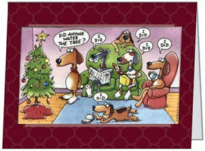 Your-Words-BUSINESS-PERSONAL-Dogs-WATER-TREE-Humorous-CUSTOM-Christmas-CARDS-USA