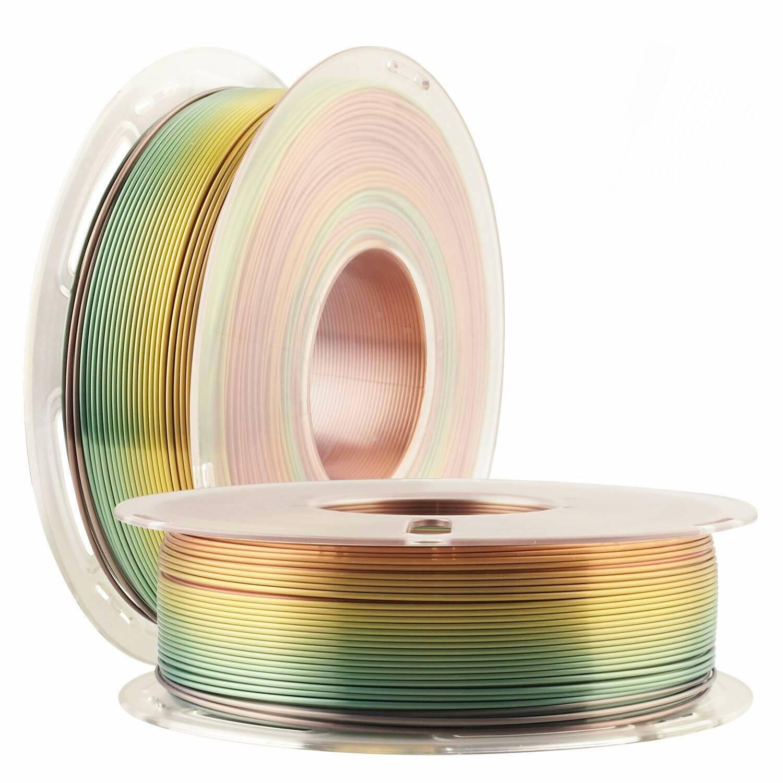 Silk Rainbow PLA Satin Shiny 3D Printer Filament, 1.75mm Diameter 1kg Spool