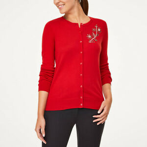 Loft Outlet Jeweled Crew Neck Cardigan Sz. Medium & Large Red Nwt - Msrp $55 Diversified Latest Designs