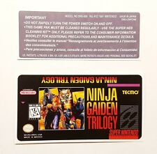 REPLACEMENT SNES CARTRIDGE STICKER LABELS FOR: NINJA GAIDEN TRILOGY