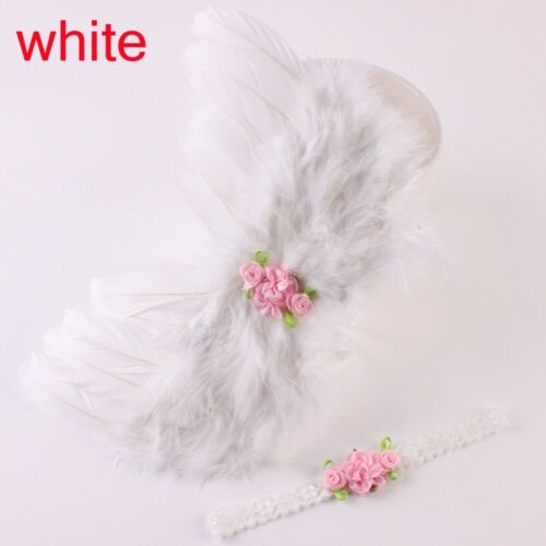 Newborn Flowers Angel Wings Headband Set Feather Photograph Props Outfits
