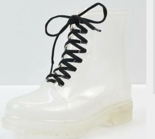 Damen Wellington Stiefeletten Gummistiefel Wellies Regen Schnee Clear Waterproof