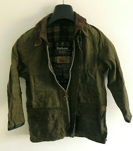 Boys-Barbour-Bedale-wax-jacket-Green-coat-34in-size-Medium-Large-M-L