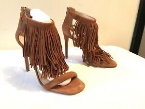 fondo de pantalla trigo ex  Steve Madden fringly Castaño ante Sandalias Talla 7.5 Zapatos con Tiras  Tacones De Flecos | eBay