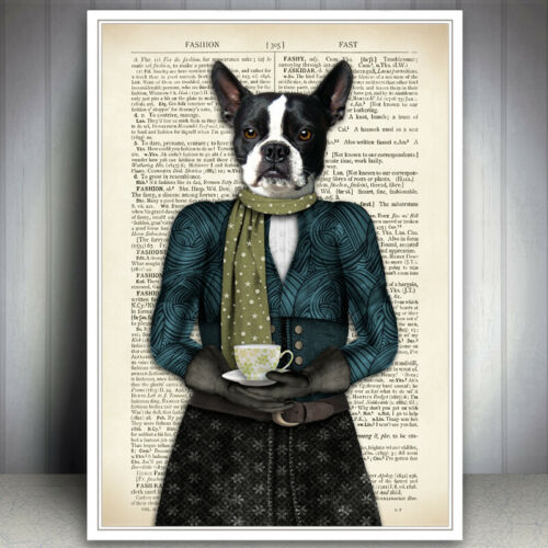 DOG ART PRINT VINTAGE TEA CUP ANTIQUE DICTIONARY STYLE BOOK PAGE BOSTON TERRIER