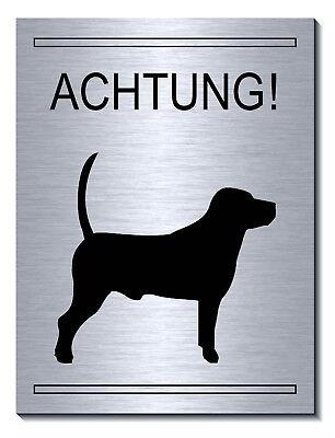 Vorsicht-achtung-hund-20 X15 Cm Aluminium-edelstahl-optik-schild-warnschild-tier Schilder & Plaketten Hunde