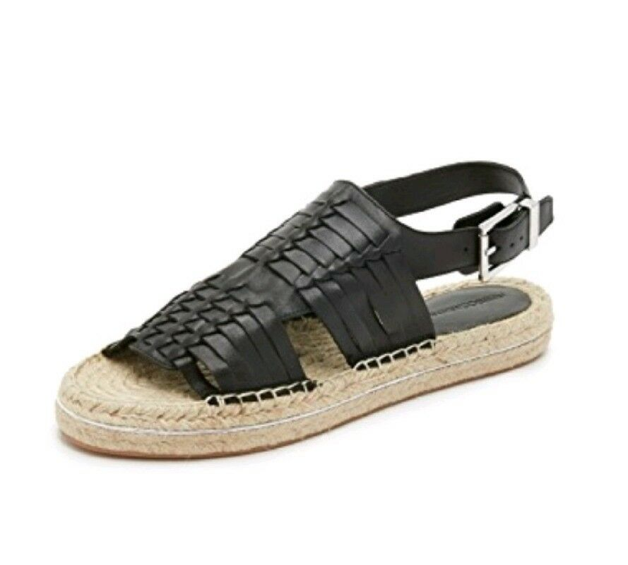 Rebecca Minkoff Sandals Espadrille Huarache Woven  8.5 New Black