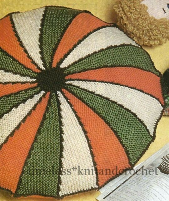Vintage Knitting Pattern For A Striped Round Cushion Cover