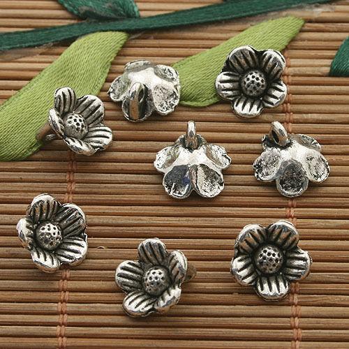 30pcs dark silver tone plum flower charms h3338