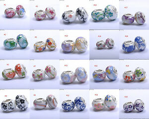 10PCS TWENTY Assorted Ceramic Beads Charms . To fit European Bracelets 14MM