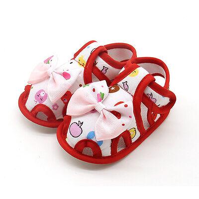 Cartoon Newborn Baby Girl Bow Soft Crib Sole Sneakers Anti-slip Sandals Shoes