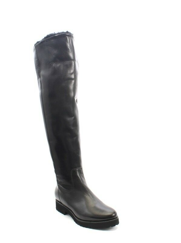 Luca Grossi 1322 Black Leather Sheepskin Fur Over-the-Knee Boots 35 / US 5