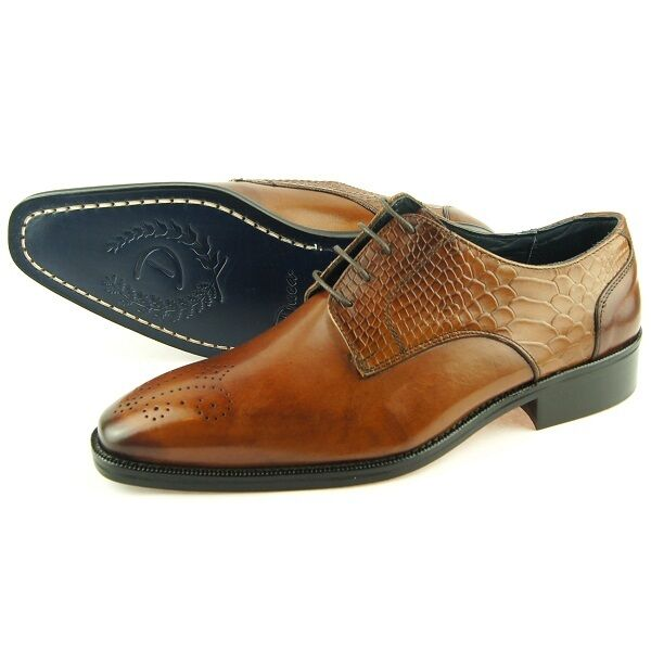 Duca di Matiste  1501  Medallion Derby, Men's Dress Leather Oxford shoes,