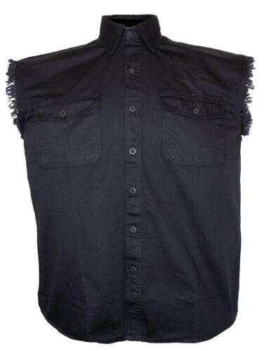 Mens Black Twill Denim Sleeveless Born Lucky Skull 777 Biker Shirt Design