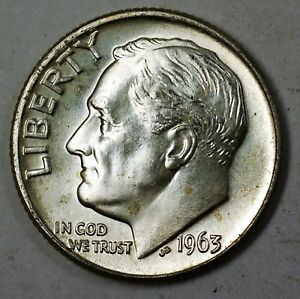 1963-D Roosevelt Dime BU 90/% silver from OBW Bank BU Roll
