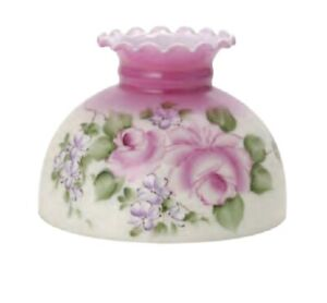 10-034-PINK-BLUSH-w-ROSES-Student-Oil-Lamp-Shade-Fits-Aladdin