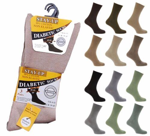 Unisex Stay Up Diabetes Artritis Friendly Cotton Comfort Socks 3 Pair Value Pack