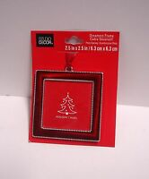 "Square Ornament Picture Frame Christmas Red/silver Fit Photo 2.5""w X2.5h"