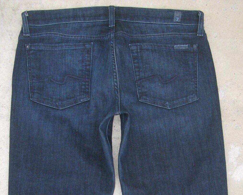 7 for all Mankind Womens Bootcut Jeans Sz 29 w Stretch Dark bluee w Distressing