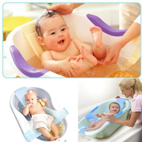 Newborn Infant Baby Bath Adjustable Antiskid For Bathtub Seat Sling Mesh Net Bed