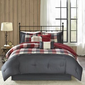 Madison-Park-Ridge-King-Size-Ultra-Soft-Microfiber-Plaid-Red-Bed-Comforter-Set