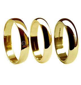 4mm18ct-ORO-AMARILLO-anillos-de-bodas-con-forma-039-d-039-PERFIL-Bandas-750-MARCA-UK