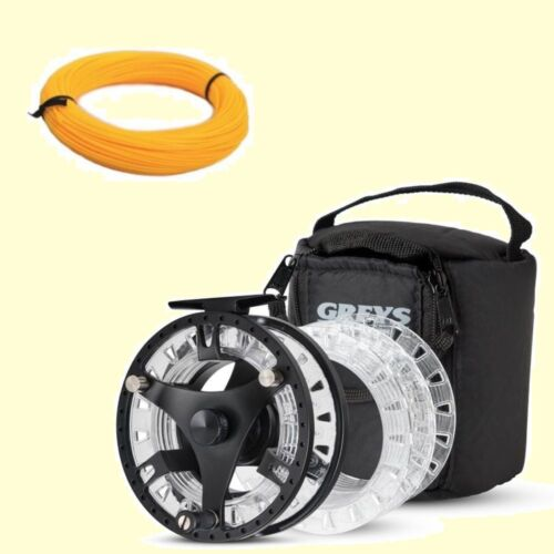 Greys GTS 500 Fly Fishing Reel 3 Spools /& Case Free Fly Line