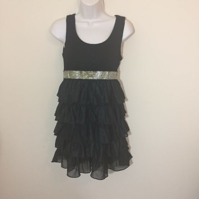 Forever 21 Xxi Black Gold Tiered Ruffle Party Dress Medium