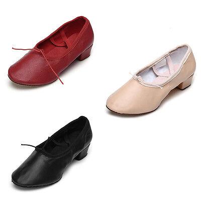 Women ladies teacher ballroom ballet leather practice dance shoes black red pink