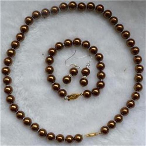 AAA 8mm Chocolate Sea Shell Pearl Necklace Bracelets Earring Jewelry Set