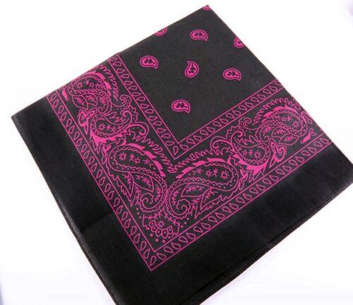 1 x Bandana Paisley Schwarz Rosa Kopftuch Tuch Halstuch Biker 100/%Baumwolle #310