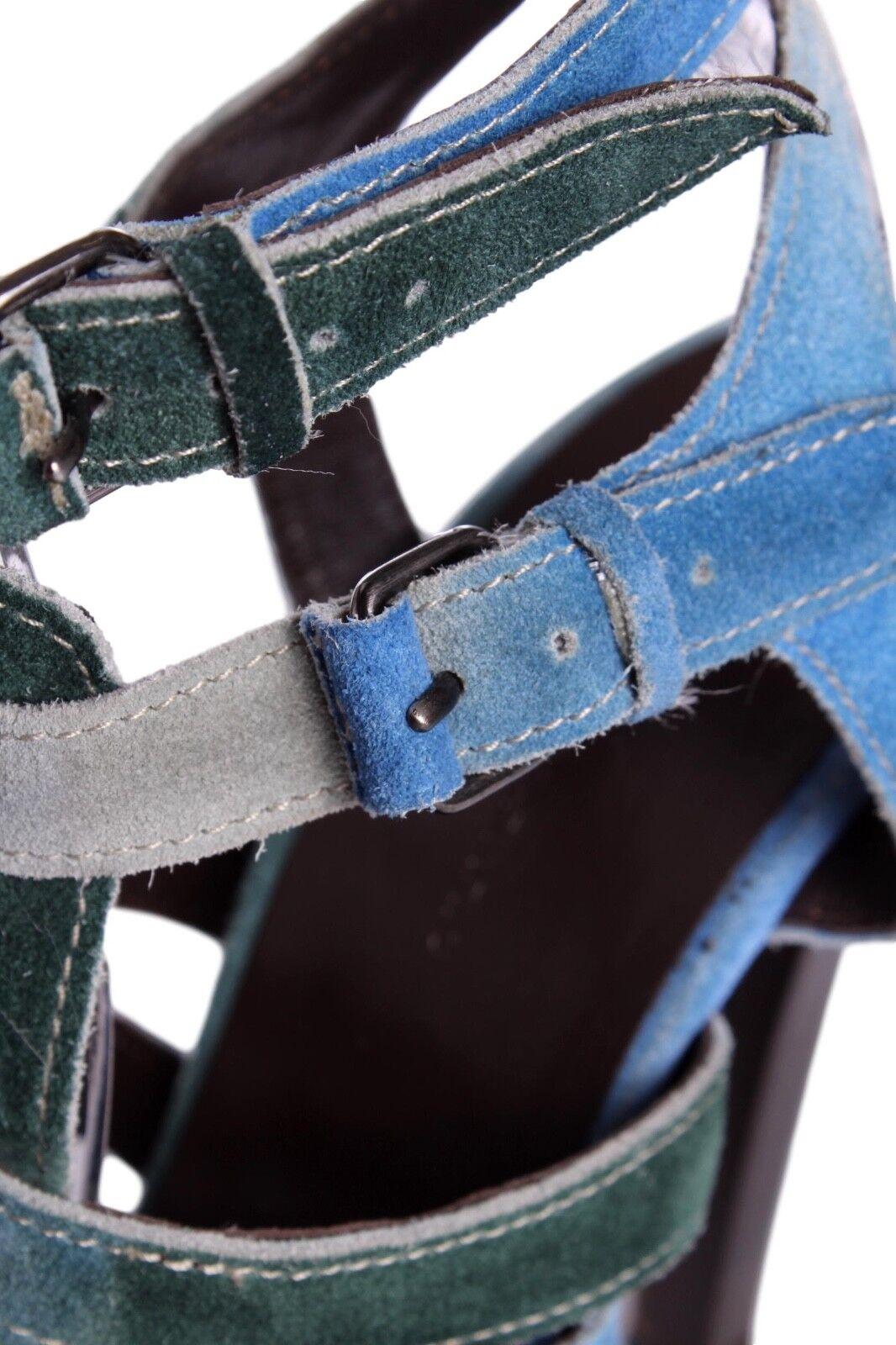 Balenciaga azul & verde Gamuza de Tie-Dye jaula multistrap Hebilla Sandalia bombas de Gamuza EE. UU. 8.5 109ecc