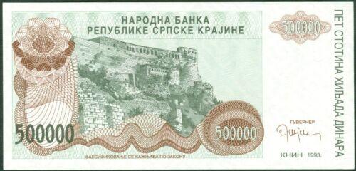 CROATIA 500000  DINARA 1993 Prefix  A P  R23 Uncirculated Banknotes