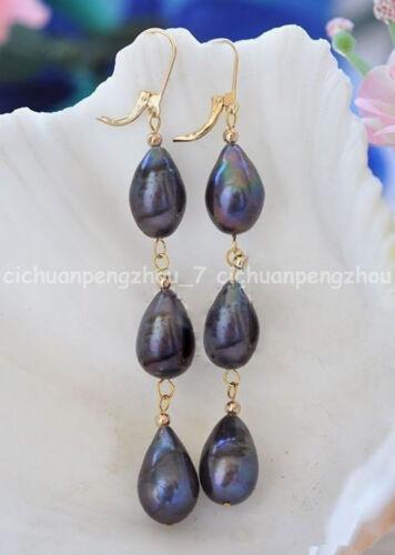 9-10 mm Naturel Black Akoya Eau Douce Perles Leverback Dangle Earrings