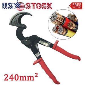 Ratchet Cable Cutter Cut Up To 240mm2 Ratcheting Wire Cut Hand Tool Red Durable