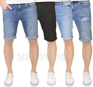 Crosshatch Mens Designer Ripped Distressed Slim Fit Stretch Denim Shorts