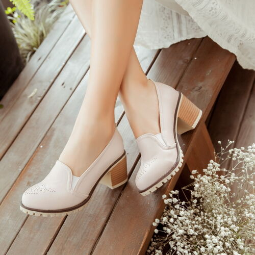 Plus Size Vintage womens oxfords chunky heels retro British Style Pumps Date New