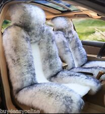 100% Real White with  tip Sheepskin Long Wool Car Seat Cover(Universal Fit) Pair
