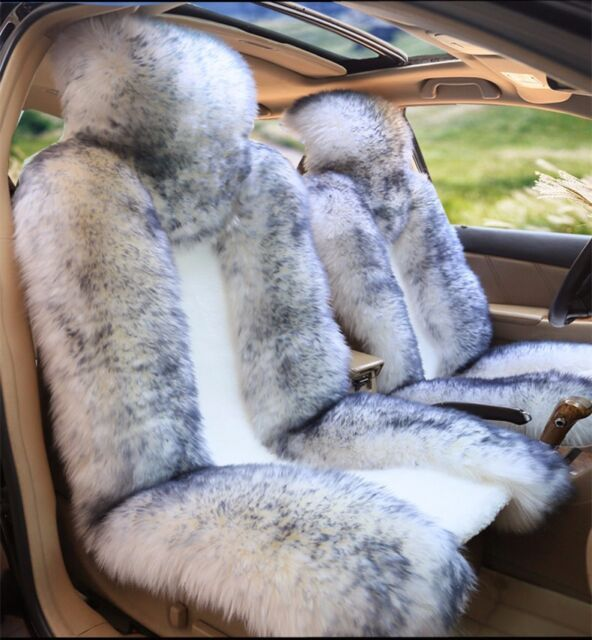 100 Real White With Tip Sheepskin Long Wool Car Seat CoverUniversal Fit