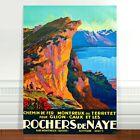 "Travel Poster Art ~ CANVAS PRINT 16x12"" ~ Cliff Rochers de Naye Switzerland"