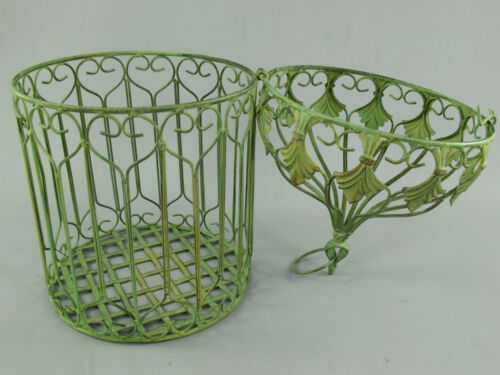 Antik Deko Vogelkäfig 2er-Set aus Metall Pflanzkäfig Blumenkäfig Käfig grün