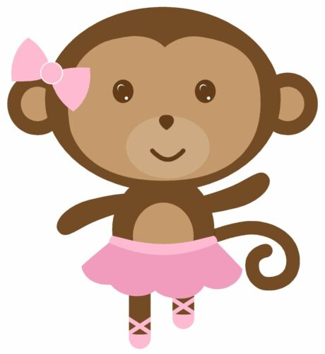 "5/""-9/"" Baby monkey ballerina ballet one foot up wall safe sticker border cut out"