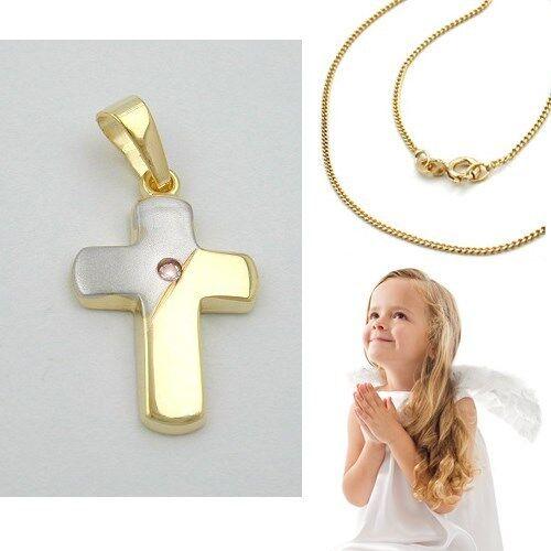 Baby Taufe Kinder Kommunion Anhänger Zirkonia weiß Kreuz Echt Gold 333 bicolor