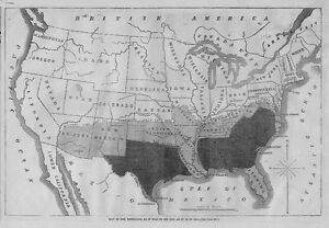 Civil War 1864 United States Map Of The Rebellion Military Line - Us-map-1864