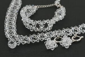 Mit-SWAROVSKI-Perlen-Braut-Collier-Halskette-Ohrringe-Armband-Hochzeit-Set