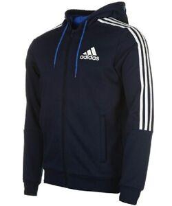 Adidas-Herren-3-Stripe-Essentials-Reissverschluss-Kapuzenpullover-Fleece-Hoodie-Full-Zip-Hoody-XXL