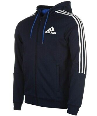 Adidas Mens 3 Stripe Essentials Zip Hoodie Fleece Hoodie Full Zip Hoody XXXL | eBay