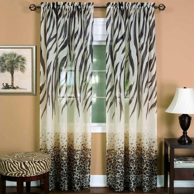 Sheer Curtain Panel Drape Window Covering Treatment Brown Leopard